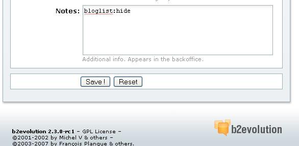 screenshot: hiding a blog