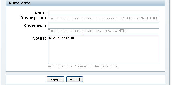 screenshot: ordering the bloglist